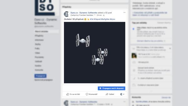 3D příspěvky na facebooku