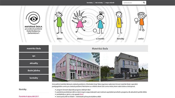 Obrázek reference Web pro mateřskou školu pro zrakově postižené